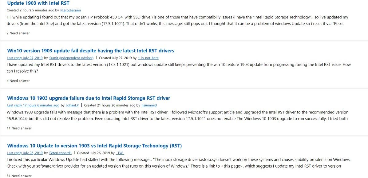 Intel RST complaints
