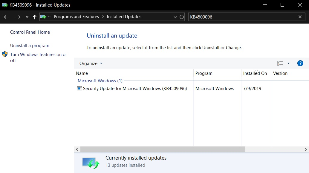 Windows 10 KB4509096