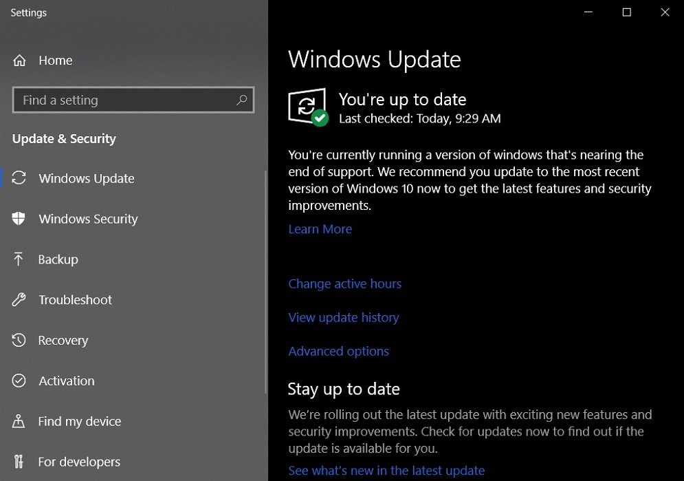 Windows 10 Update reminder