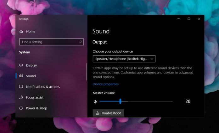 Windows 10 audio page