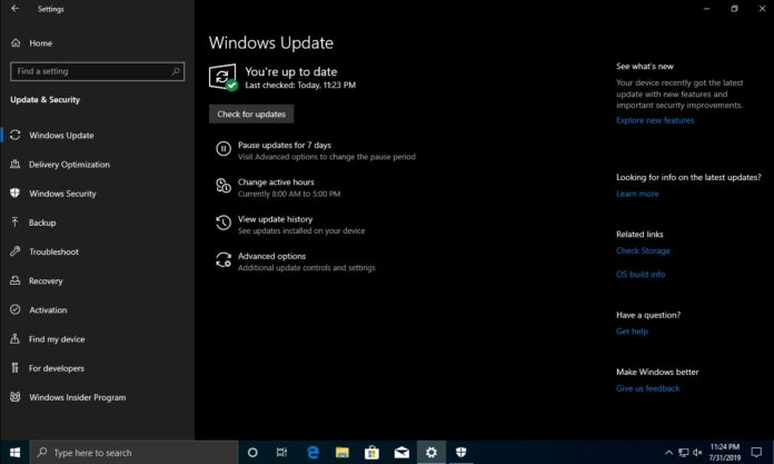 Windows Update page