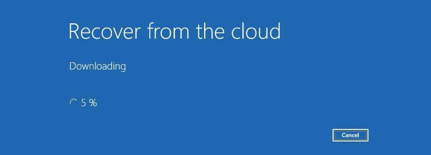 Cloud recovery in Windows 10
