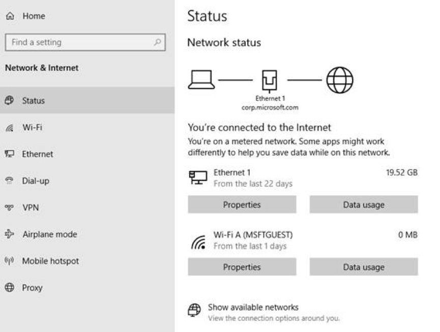 Network status settings