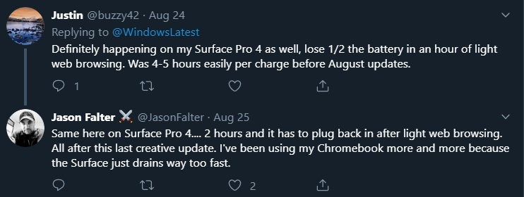 Surface Pro 4 battery issue