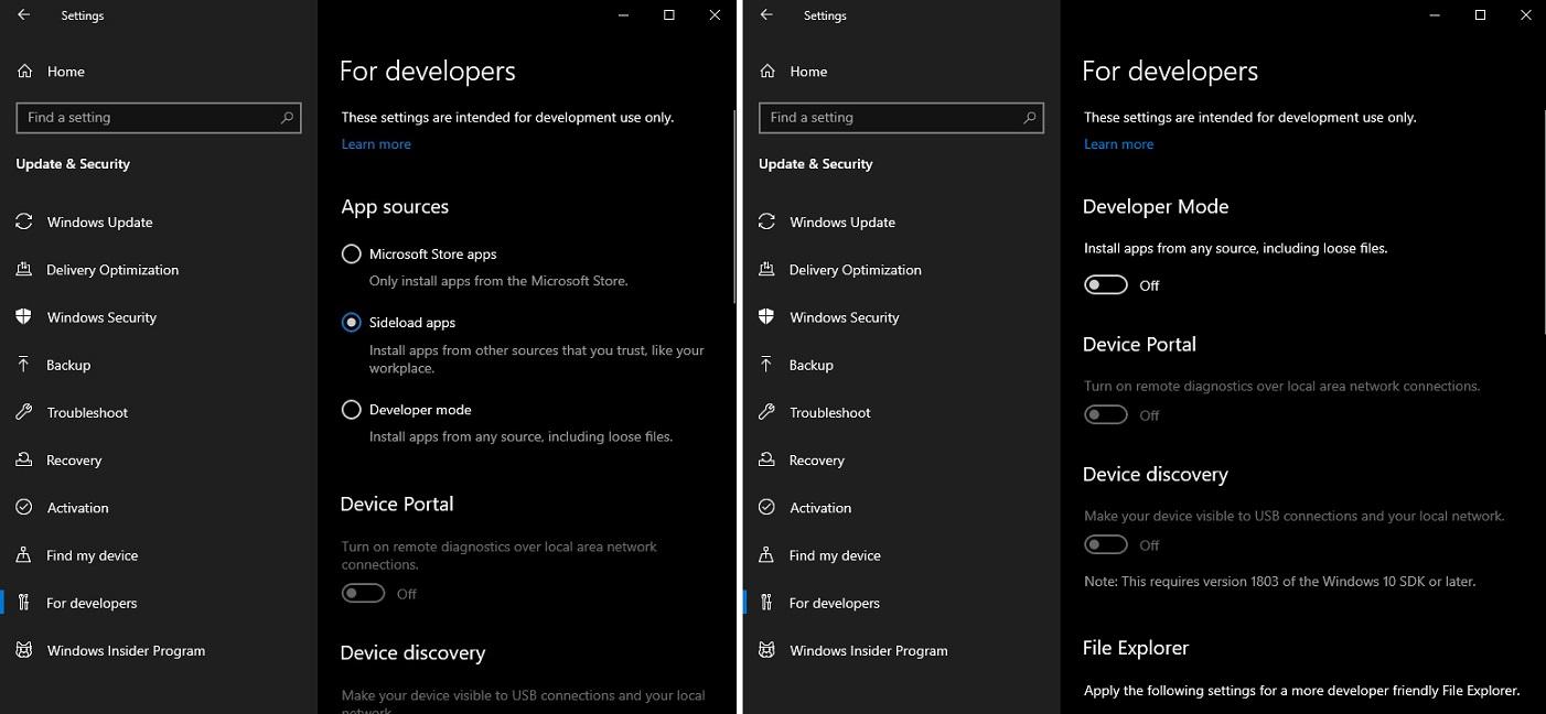 Windows 10 20H1 dev settings