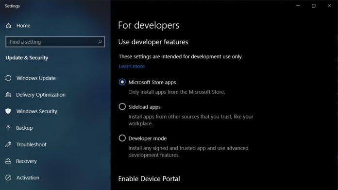 Windows 10 developer settings