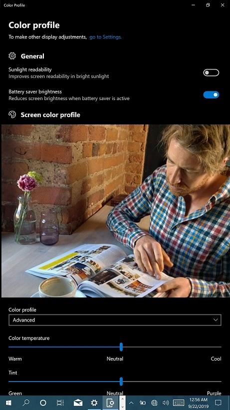 Color profile WoA