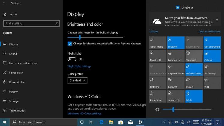 Lumia display setting
