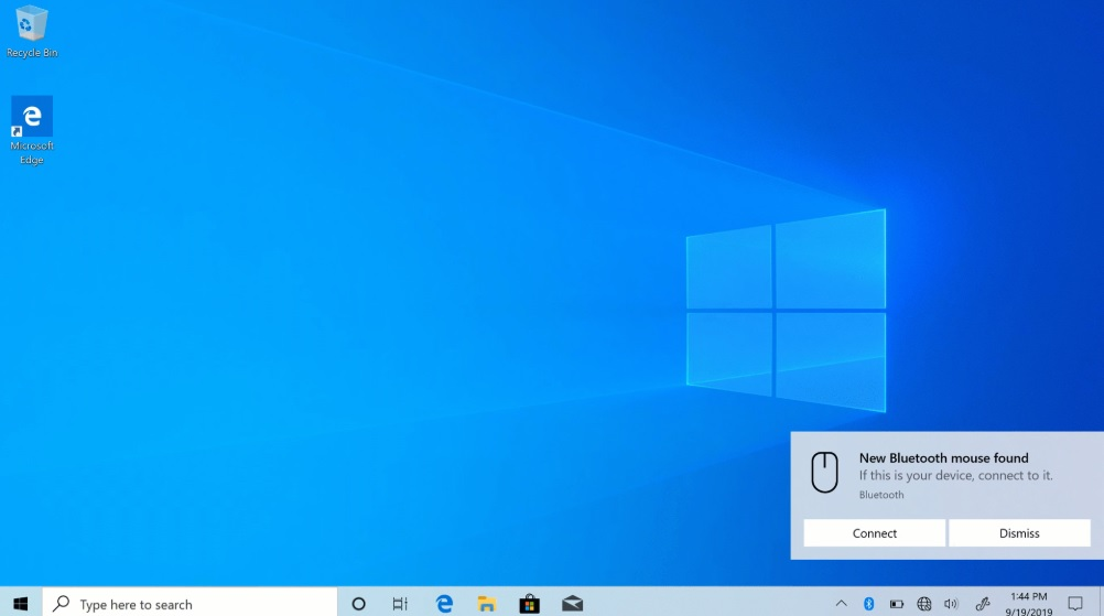 Windows 10 Bluetooth notification