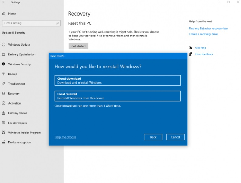 Windows 10 Cloud recovery