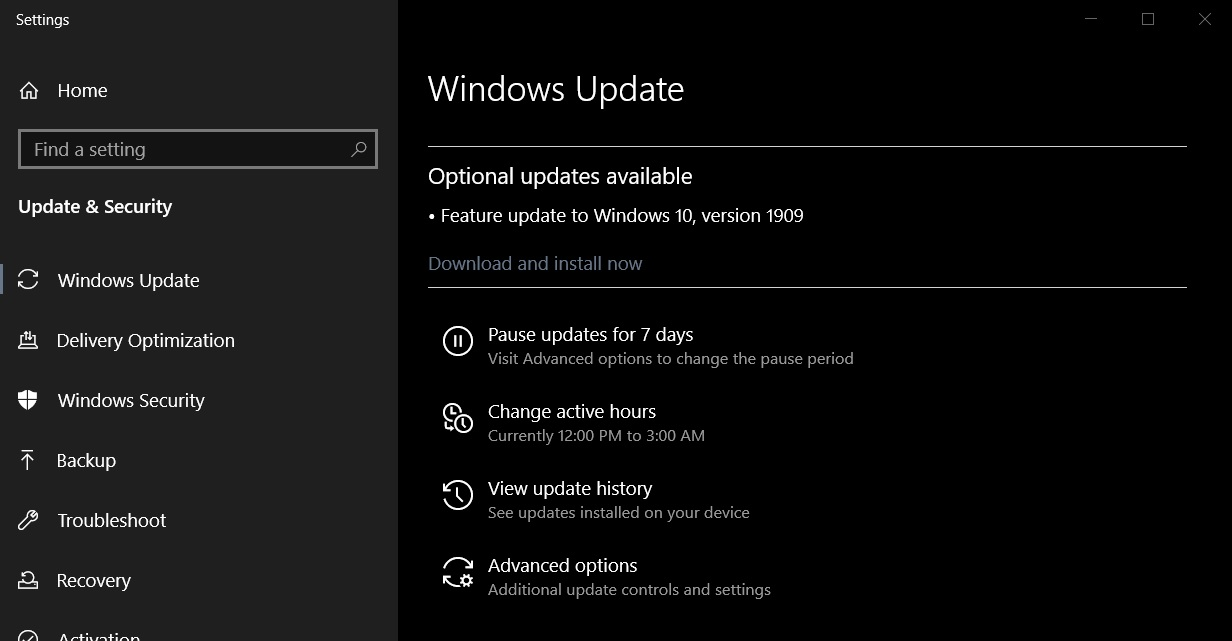 Windows 10 version 1909 update