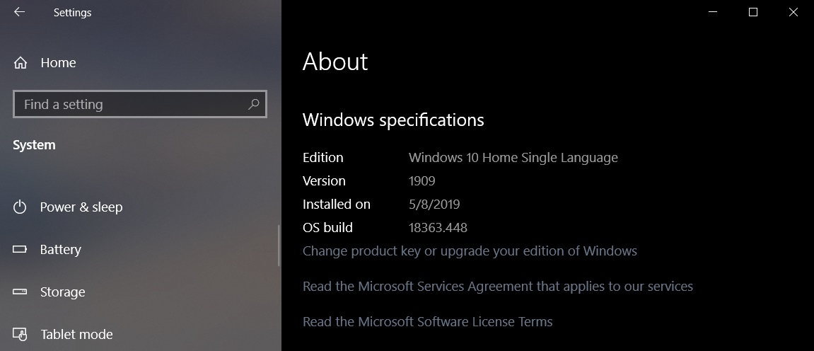 Windows 10 Build 18363