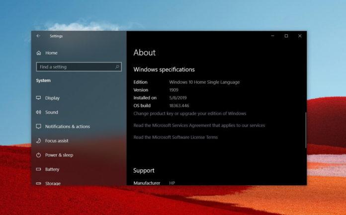 Windows 10 v1909