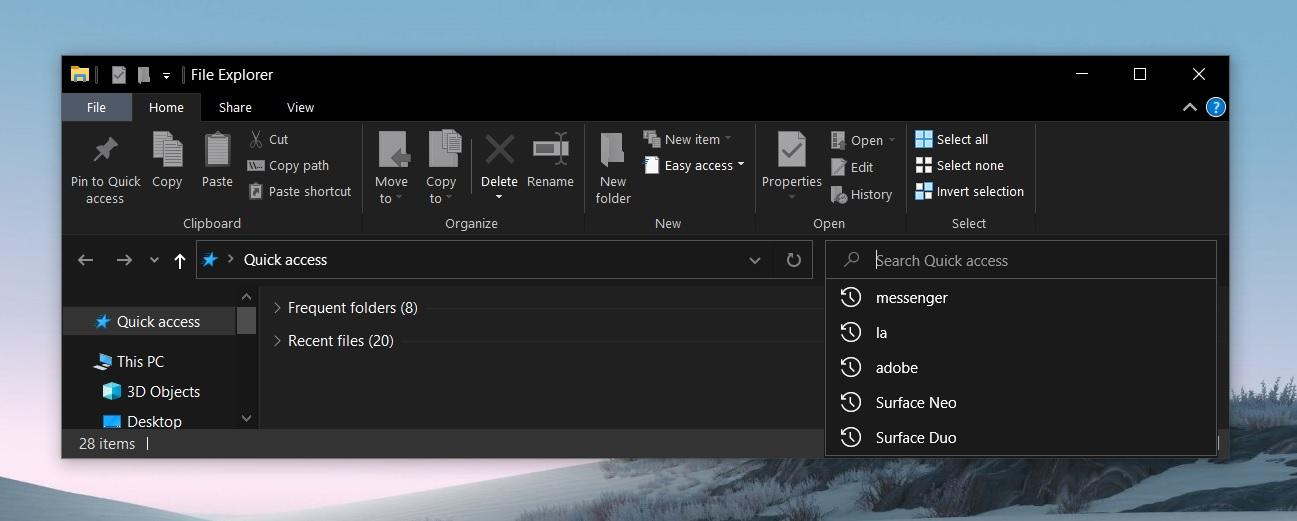 File Explorer search glitch