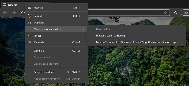 Edge tab management feature