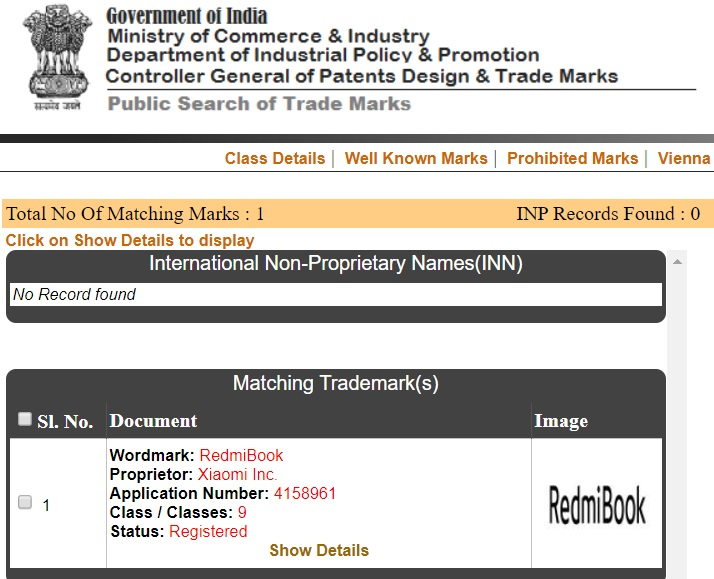 RedmiBook trademark