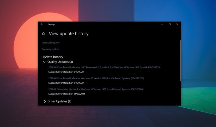 Windows 10 cumulative update