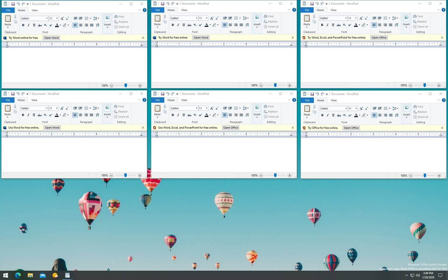 WordPad advertisement