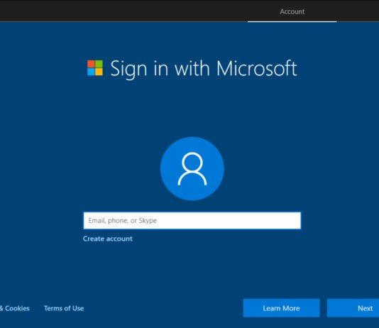 Windows 10 microsoft account