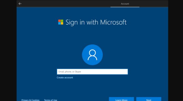 Windows 10 microsoft account