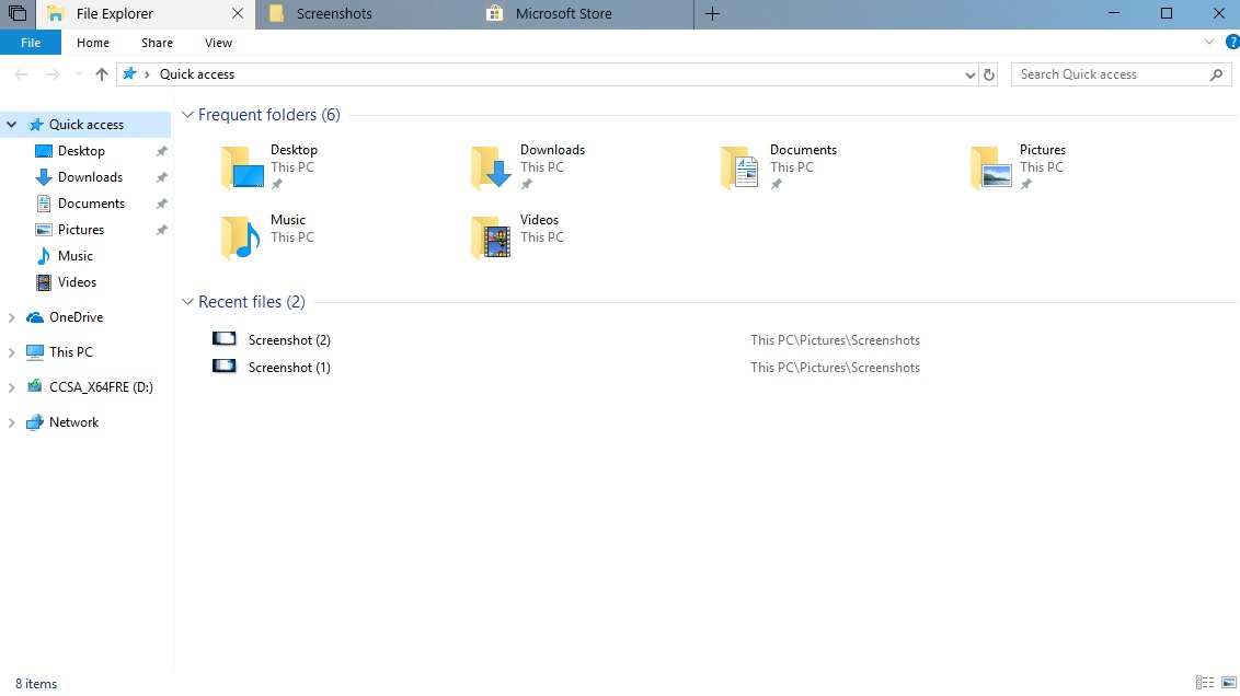 File Explorer tabs