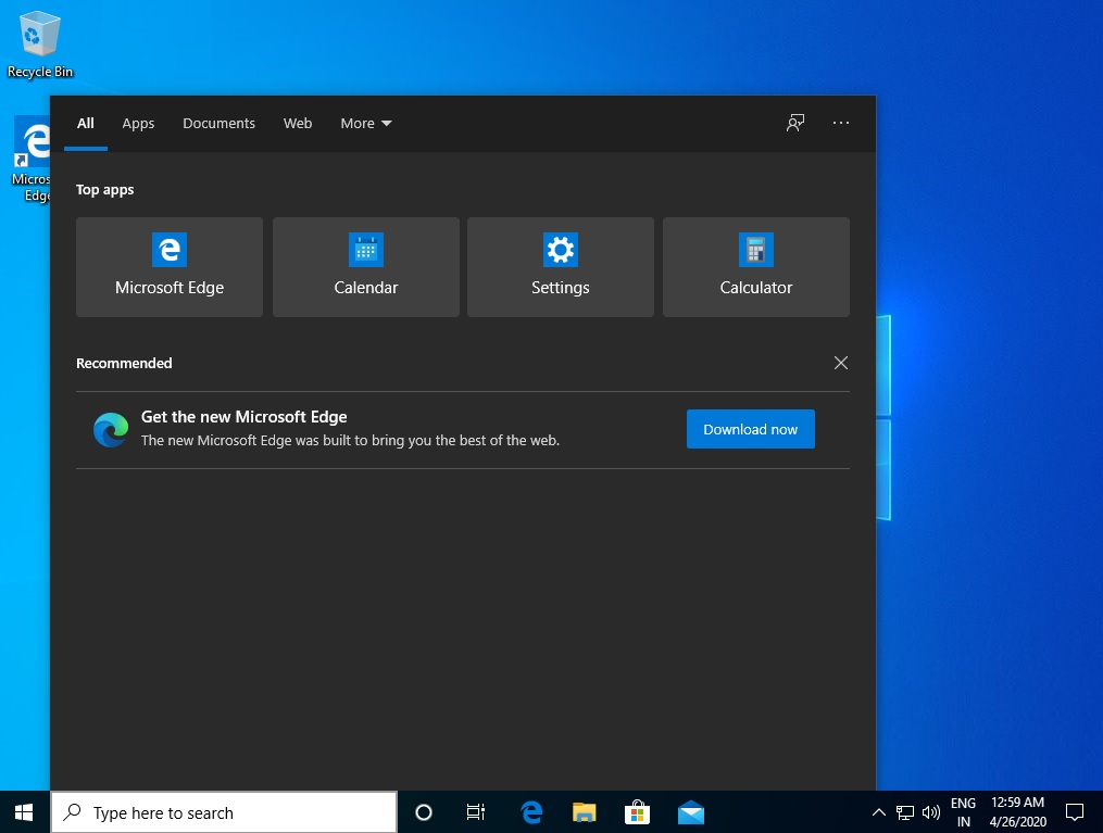 Edge ad in Windows 10