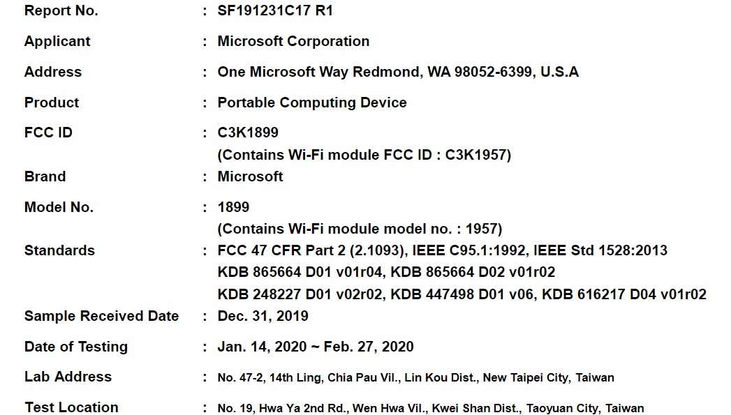 Surface Book 3 FCC