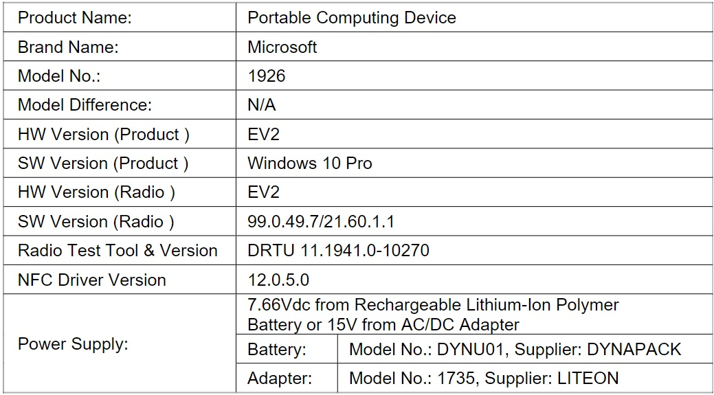 Surface Go 2 LTE FCC