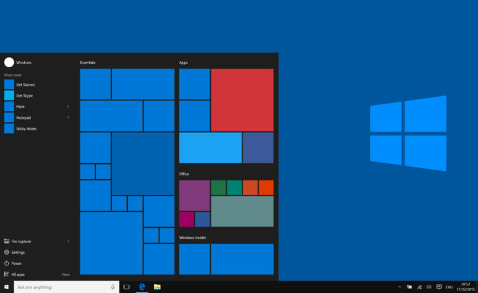 Windows 10 update Start menu