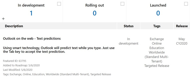 Outlook text predictions