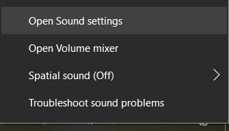 Sound context menu