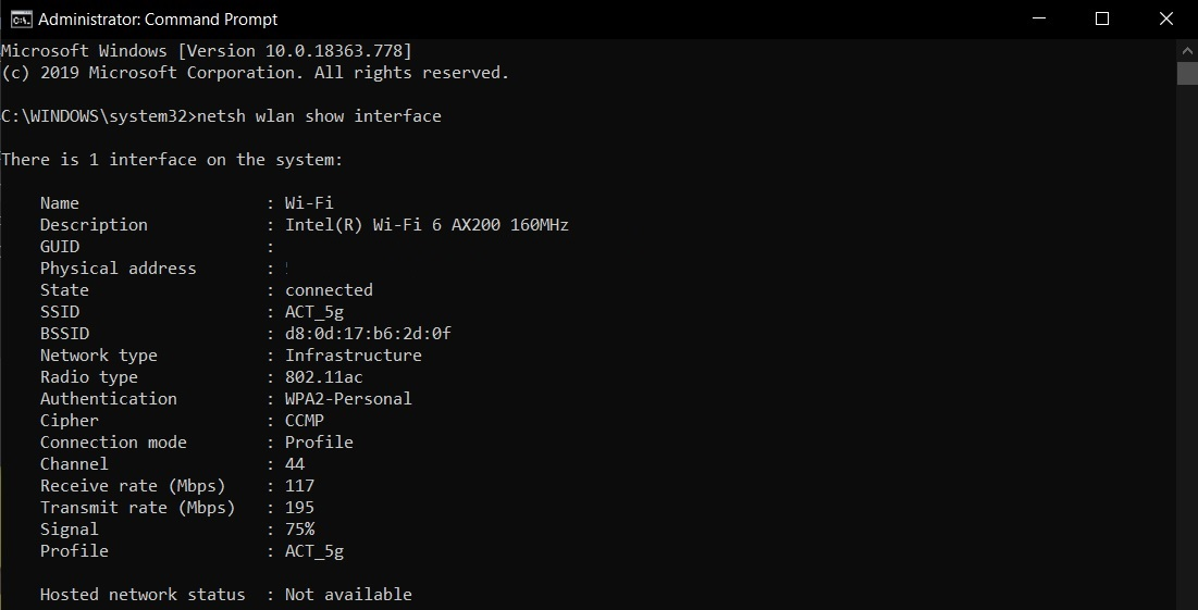 WiFi signal in Command Prompt