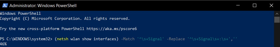 WiFi signal in PowerShell