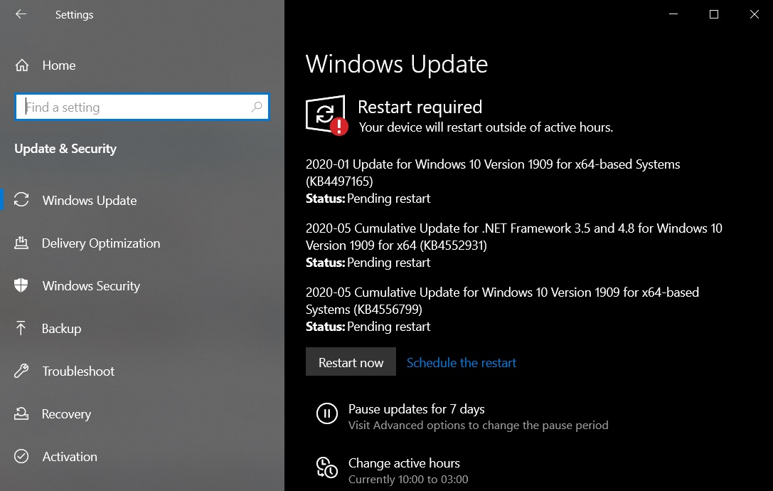 Windows 10 KB4497165