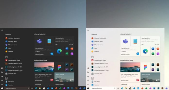 Windows 10 Start menu UI