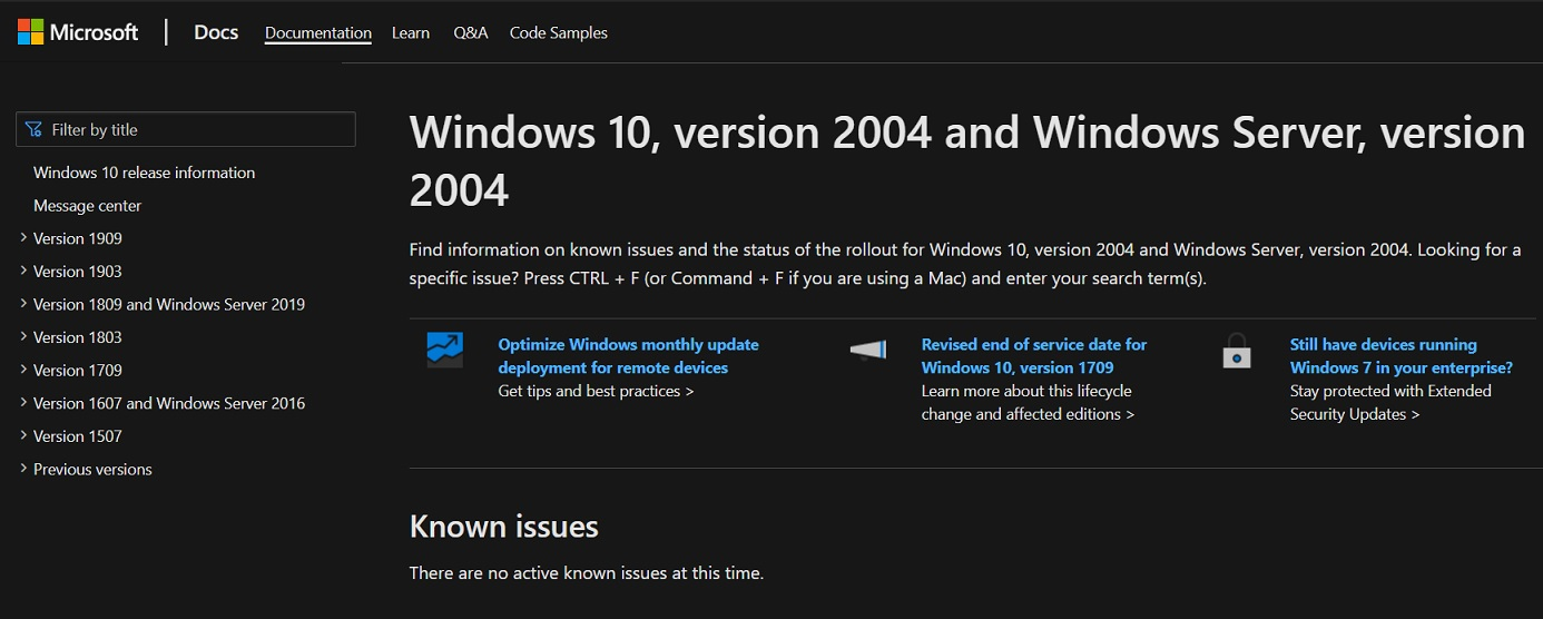 Windows 10 v2004 support pages