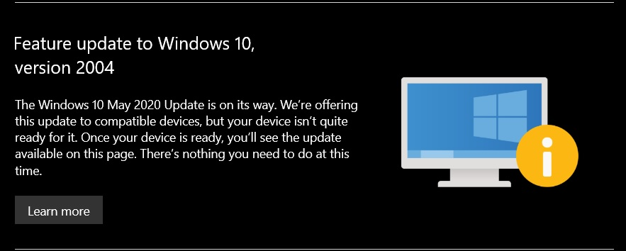 Windows 10 version 2004 warning