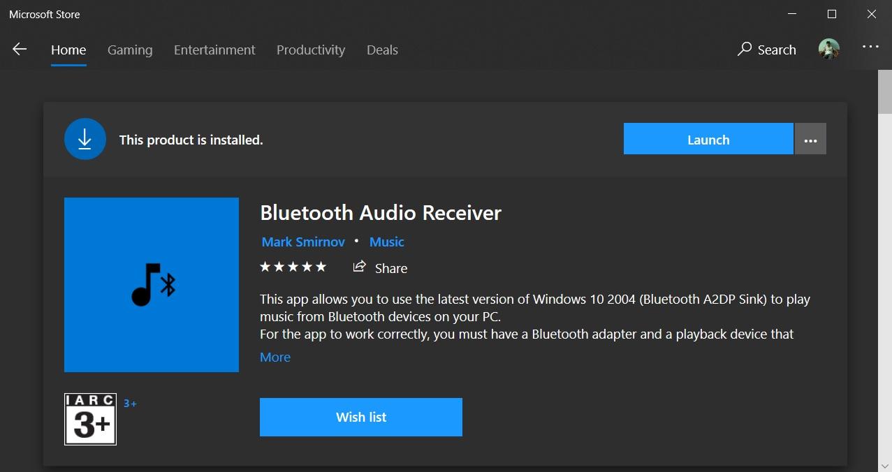 Bluetooth Audio Receiver app