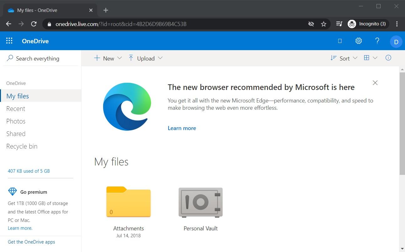 Edge ad in Chrome