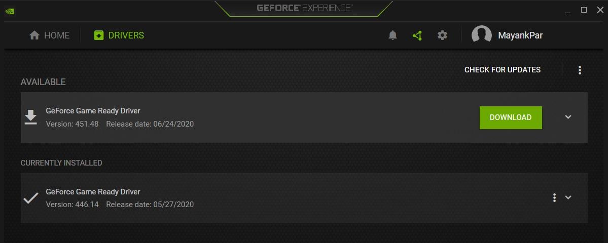 GeForce Experience app