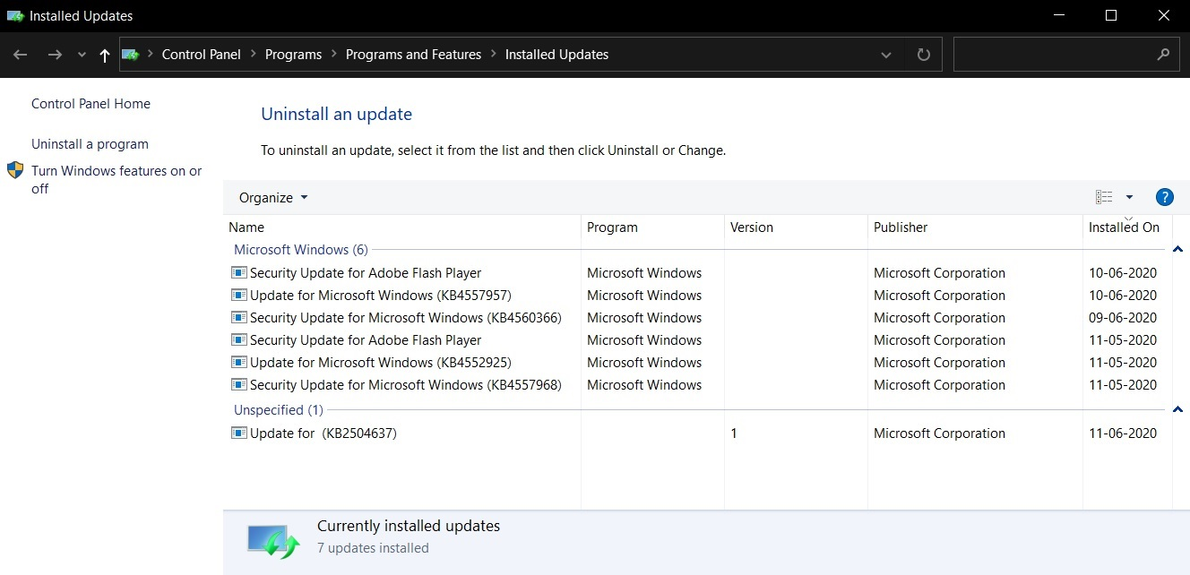 Manage updates in Control Panel