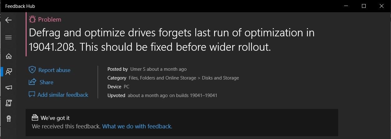Optimize drives Feedback