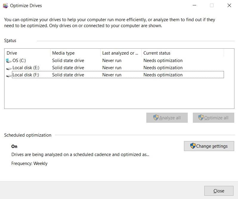 Optimize drives tool