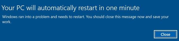 PC restart warning