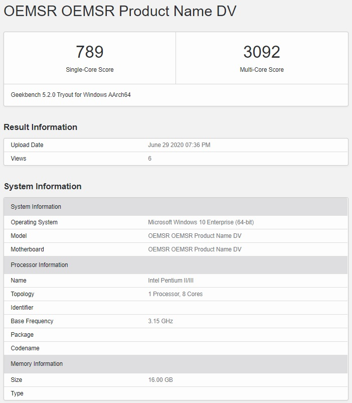 Snapdragon 8cx Plus benchmark