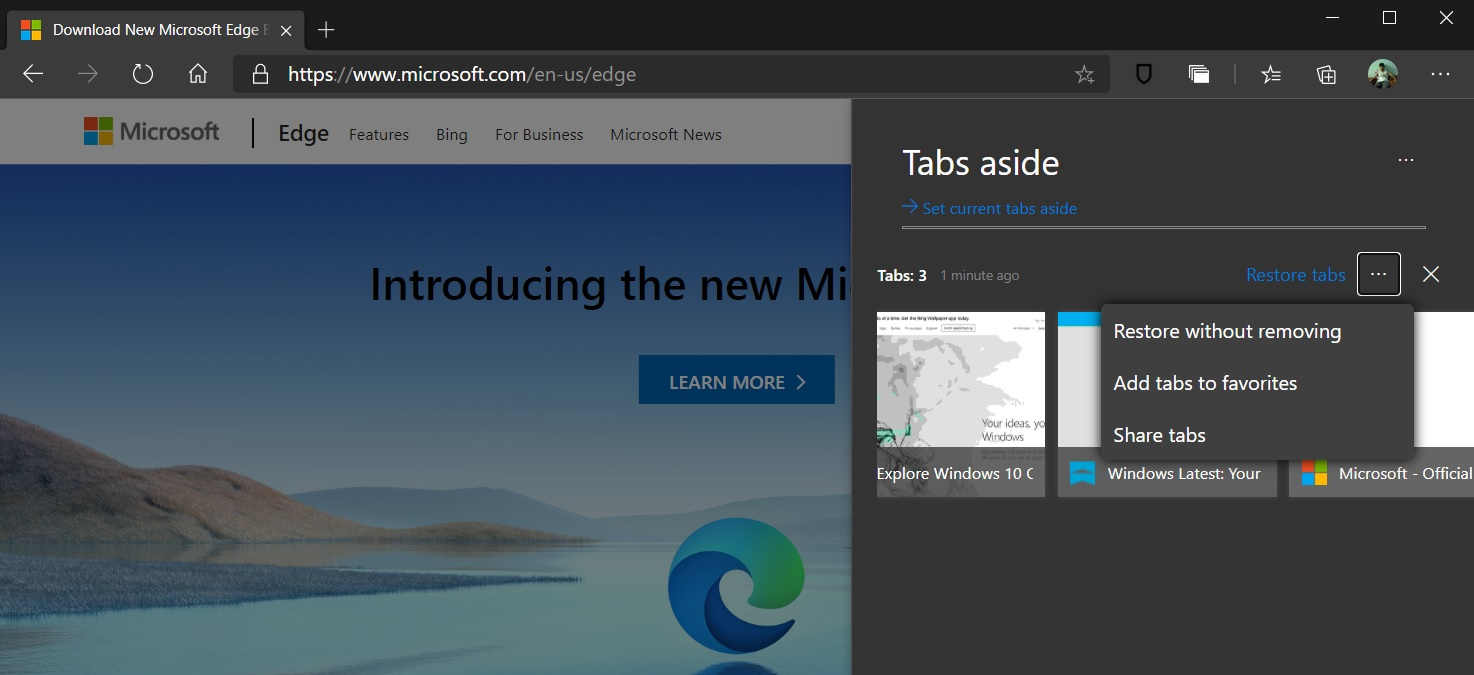 Tabs Aside in Edge