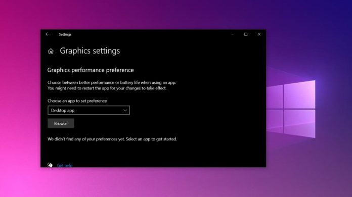 Windows 10 Graphics settings