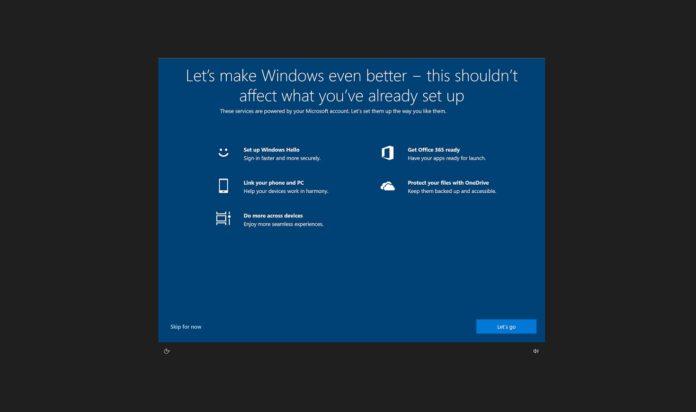 Windows 10 setup prompt