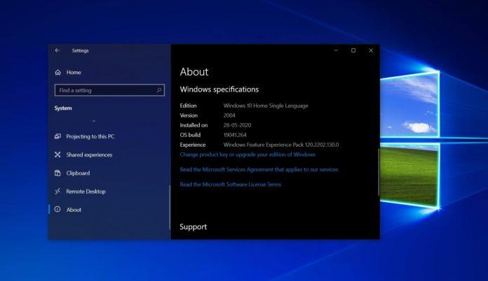 Windows 10 version 2004 update