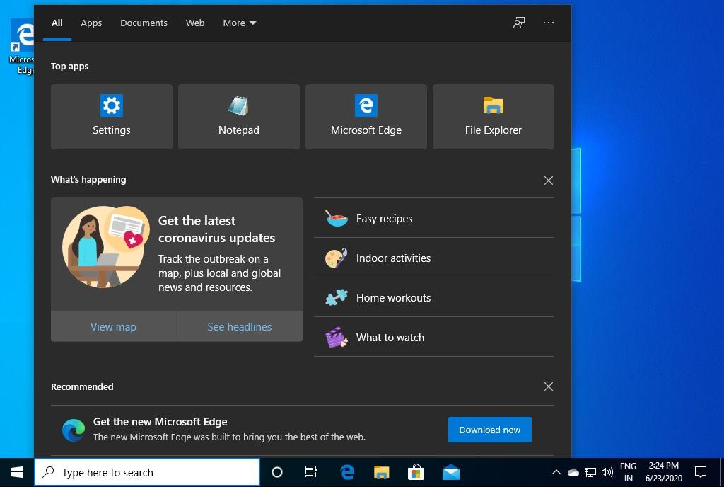 Windows Search Bing suggestions